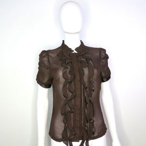 Dereon Brown Ruffle Front Blouse size US Large